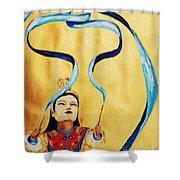 Chinese Ribbon Dancer  Blue Ribbon Shower Curtain