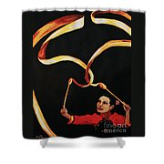 Chinese Ribbon Dancer Yellow Ribbon Shower Curtain