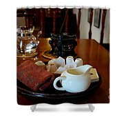 Chinese Tea Pot Cups Towel Tray And Plates Shower Curtain