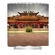 Chinese Temple Paved Square Shower Curtain