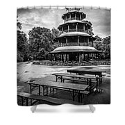 Chinesischer Turm Bw Shower Curtain by Hannes Cmarits