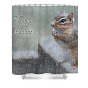 Chippy Christmas Card Shower Curtain
