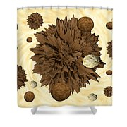 Chocolate Asteroids Shower Curtain
