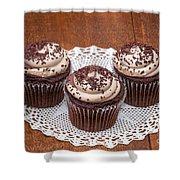 Chocolate Caramel Cupcakes Shower Curtain