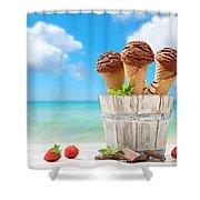Chocolate Icecreams Shower Curtain