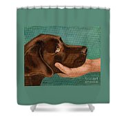 Chocolate Lab Head In Hand Shower Curtain