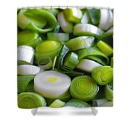 Chopped Scallions Shower Curtain