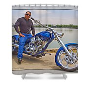 Chopper Motorcycle Shower Curtain