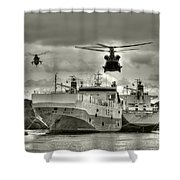 Choppers N Ships  Shower Curtain