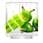 Chopping Green Peppers Little People Big Worlds Shower Curtain