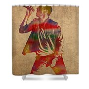 Chris Martin Coldplay Watercolor Portrait On Worn Distressed Canvas Shower Curtain
