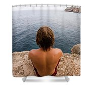 Chris Sharma Relaxing And Meditating Shower Curtain