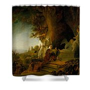 Christ And St Mary Magdalen At The Tomb Shower Curtain