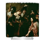 Christ And The Adulteress Shower Curtain