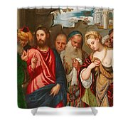 Christ And The Woman Taken In Adultery Shower Curtain