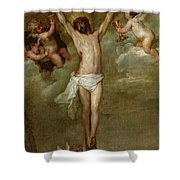 Christ Attended By Angels Holding Chalices Shower Curtain