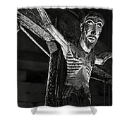 Christ Of Salardu - Bw Shower Curtain