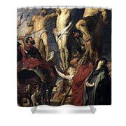Christ On The Cross Between The Two Thieves Shower Curtain