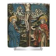 Christ On The Cross With Mary And Saint John Shower Curtain by German School