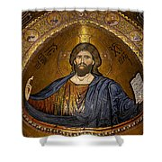 Christ Pantocrator Mosaic Shower Curtain