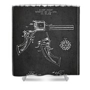 Christ Revolver Patent Drawing From 1866 - Dark Shower Curtain