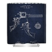 Christ Revolver Patent Drawing From 1866 - Navy Blue Shower Curtain