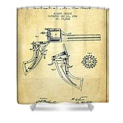 Christ Revolver Patent Drawing From 1866 - Vintage Shower Curtain