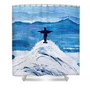 Christ Statue In Rio In Blue Shower Curtain
