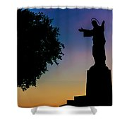 Christ Welcomes Darkness At Sunset Shower Curtain