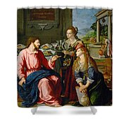 Christ With Mary And Martha Shower Curtain