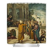 Christ With The Adulterous Woman Shower Curtain