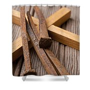 Christian Cross And Rusty Nails Shower Curtain