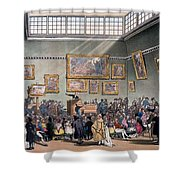 Christies Auction Room, Illustration Shower Curtain