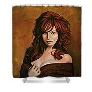 Christina Hendricks Painting Shower Curtain