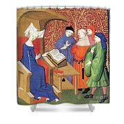 Christine De Pizan Lecturing To Men Shower Curtain