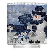 Christmas - Snowmen Collection - Family - Peace - Snow Shower Curtain