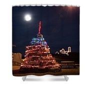 Christmas At Maines Nubble Lighthouse Shower Curtain