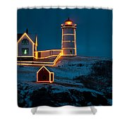 Christmas At Nubble Light Shower Curtain