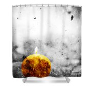 Christmas Ball Candle Lights On Winter Background Shower Curtain
