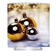 Christmas Balls Gold Silver Shower Curtain
