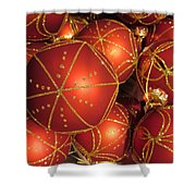 Christmas Balls In Red And Gold Shower Curtain