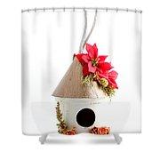 Christmas Bird House Shower Curtain