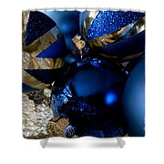 Christmas Blue Shower Curtain