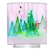 Christmas Blues And Greens Shower Curtain