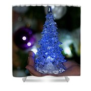 A Christmas Crystal Tree In Blue Shower Curtain
