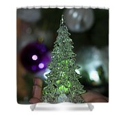 A Christmas Crystal Tree In Green  Shower Curtain