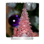 A Christmas Crystal Tree In Pink  Shower Curtain