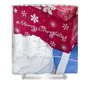 Christmas Cake Shower Curtain by Anne Gilbert