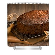 Christmas Cake With Knife Shower Curtain