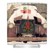 Christmas Car Card Shower Curtain